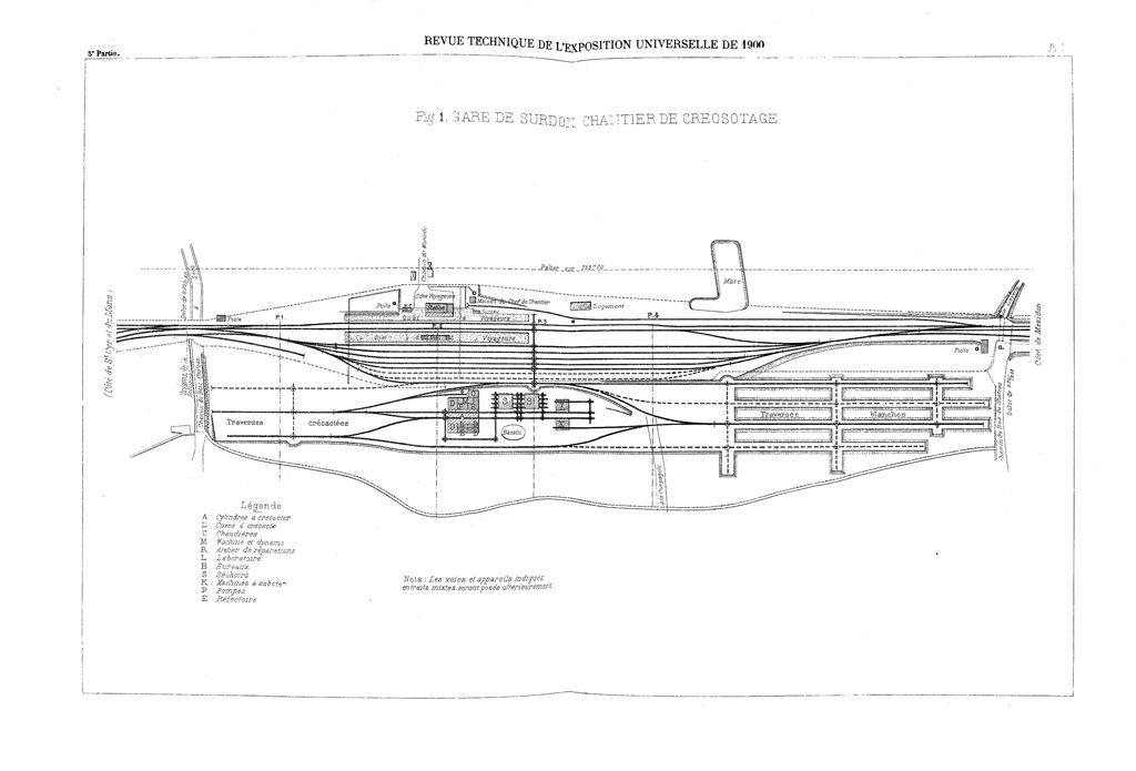 Implantation du site de Surdon en 1900
