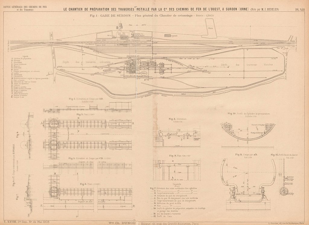 Plans de voies - Chantier de Surdon - 1905
