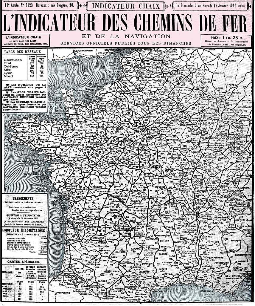 L'Indicateur des Chemins de Fer et de la Navigation - 1910